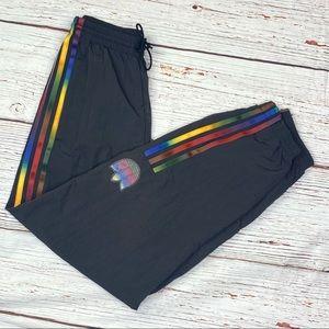 Adidas Adicolor Nylon Track Pants Black Rainbow XS